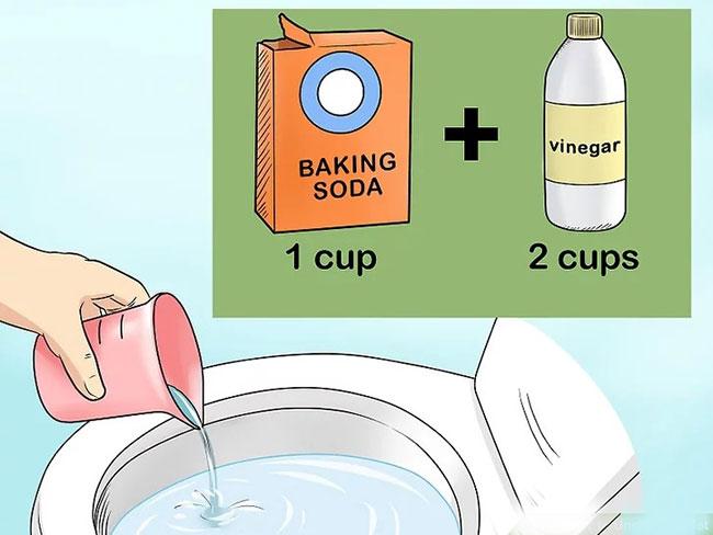 thong toilet bang baking soda va giam