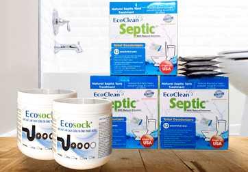 Bột thông bồn cầu EcoSock và bột vi sinh hầm cầu EcoClean Septic